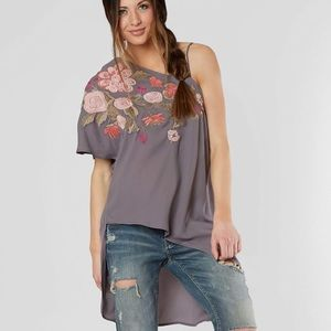 Chiffon Asymmetrical Hem High Low Top NWT